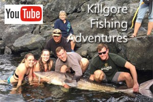 Killgore Adventures - guided fishing trips :: Jet Boat Guided Fishing on the Salmon and Snake Rivers.  Year round fishing opportunities, including: Salmon, Steelhead, Trout, Bass and mammoth Sturgeon (pictured).