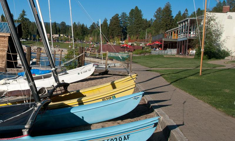 Boats along the shores of Payette Lake